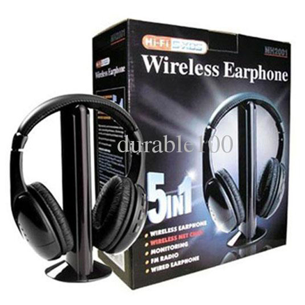 New 5 in 1 Wireless Headphone Earphone Black for Monitor FM radio for MP4 PC TV audio CD FM Radio free shipping change up intermediate teachers pack 1 audio cd 1 cd rom test maker