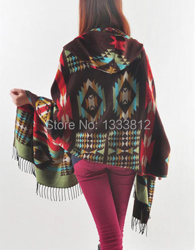 Hot Sale Poncho / cape Hooded Fringed Sweater Tribal Boho Aztec People Chic Gypsy Shawl Scarf Free Sz Free Shipping