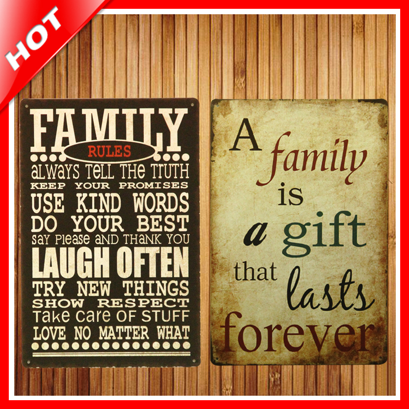 Hot Family Rules Set Chic Home Bar Vintage Metal Signs Home Decor ...