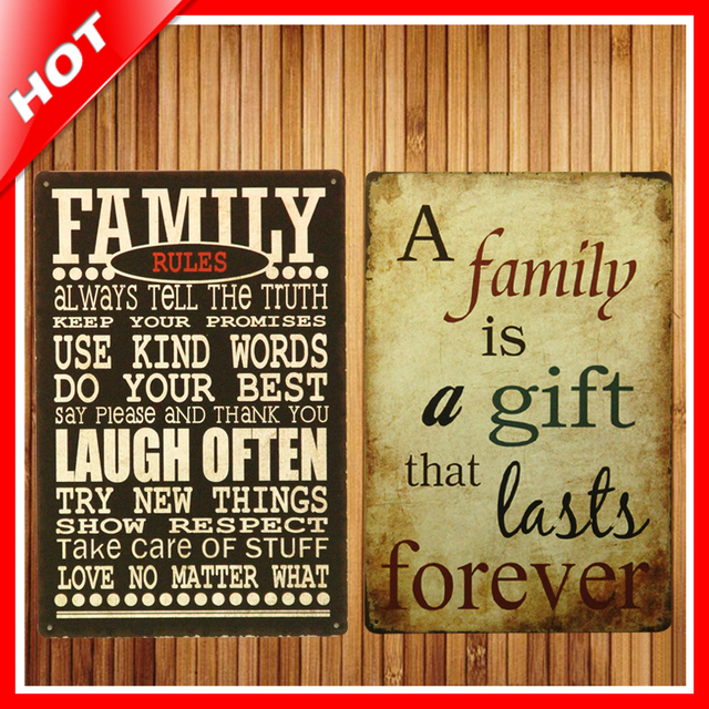 Hot Family Rules Set Chic Home Bar Vintage Metal Signs Home Decor