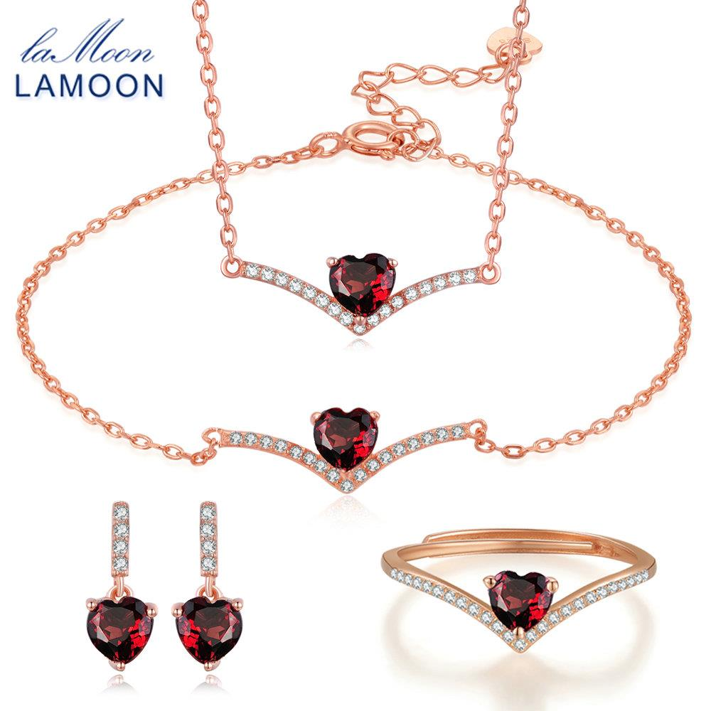 LAMOON 100% Natural Heart Cut Red Garnet 925 Sterling Silver Jewelry Sets Rings+Earrings+Necklace+Bracelet for Women V004-1 stylish silver plated cut out rhinestone heart earrings for women