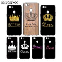 Silicone Phone Bag For OPPO F5 F7 F9 A5 A7 R9S R15 R17 Black Soft Case King Queen Couple crown Style