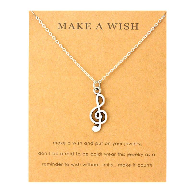 Muzyka uwaga klucz wiolinowy rak wstążka motyl wisiorki naszyjniki Angel Wings kobiety mężczyźni moda Unisex moda biżuteria przyjaźń prezent