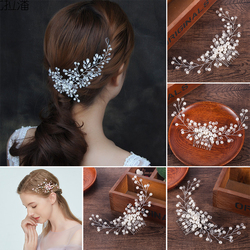 1Pc Hairwear Imitation Pearls Flower Hair Comb Bridal Tiaras Crowns Headpiece Wedding Bridal Hair Jewelry Accessories For Women