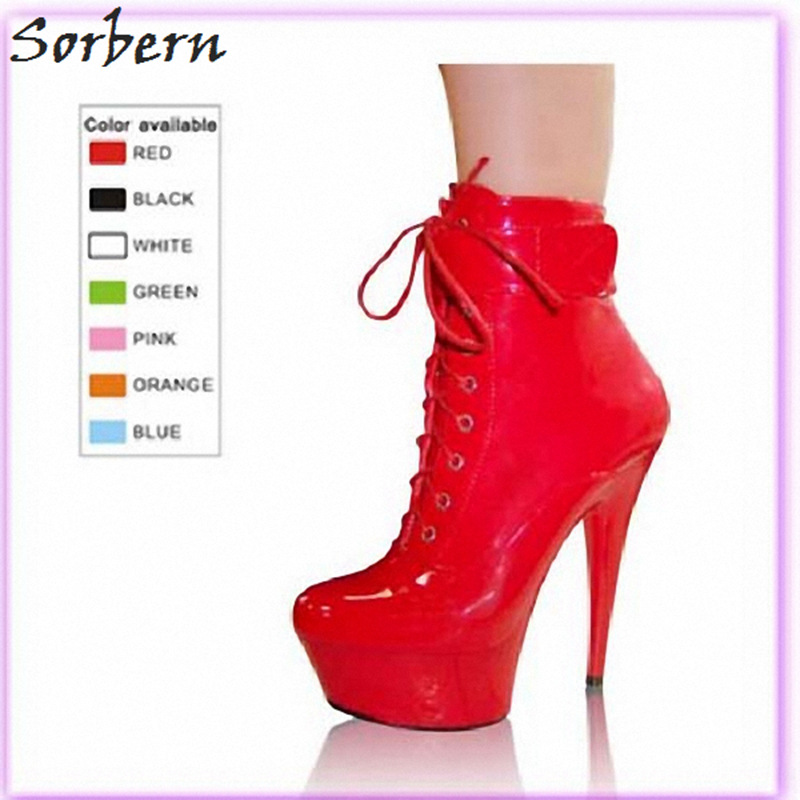 Sorbern Cross Tied Ankle Boots Patent Leather Spike Super High Heels Custom Color Personalized Design Platform