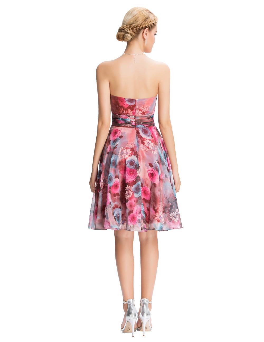 Chiffon Floral Print Short Wedding Bridesmaid Dress 3