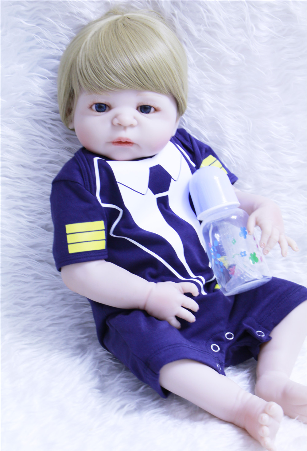 Full silicone reborn baby boy dolls 57cm realistic newborn babies alive doll for child gift bebes reborn menino bonecasFull silicone reborn baby boy dolls 57cm realistic newborn babies alive doll for child gift bebes reborn menino bonecas
