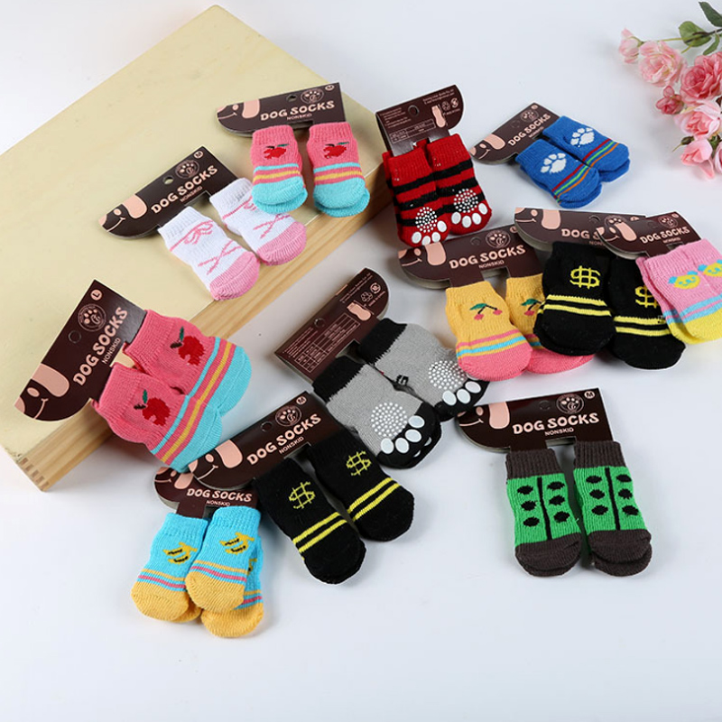 The New Cotton Knitting Wool Dog Socks Soft Pet Cat Puppy Socks Dog Footprints Pet Doggy Shoes With Bottom Non-slippery Socks