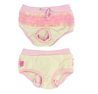 Pet Dog Doggy Yellow Pink Lace Accent Adjustable Waist Diaper Pants L