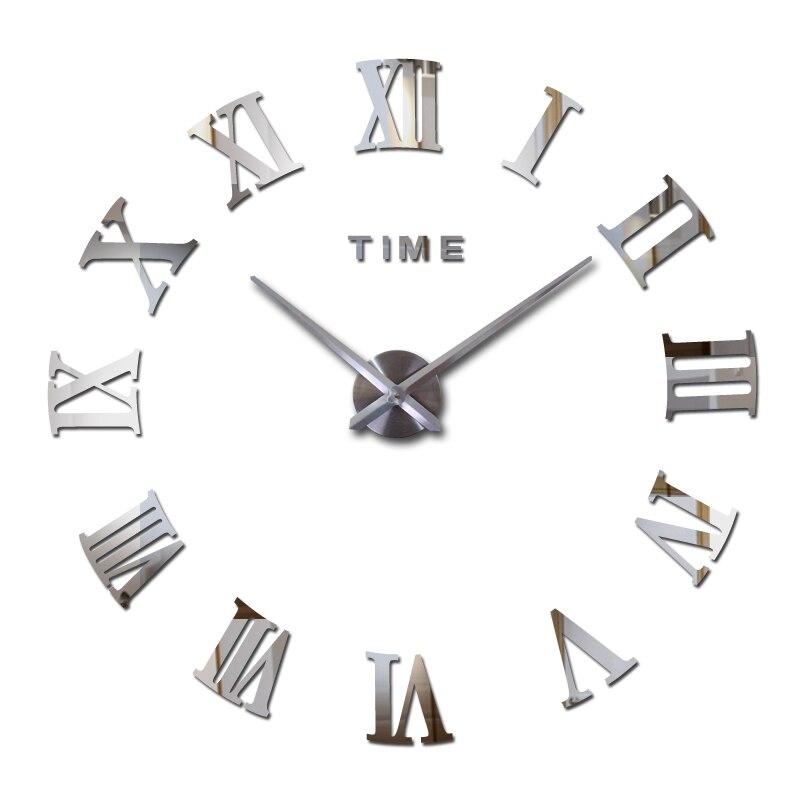 Reloj de cuarzo de moda popular decoración para el hogar venta limitada 3d gran espejo diy Reloj de pared real moderno diseño habitación regalo envío gratis