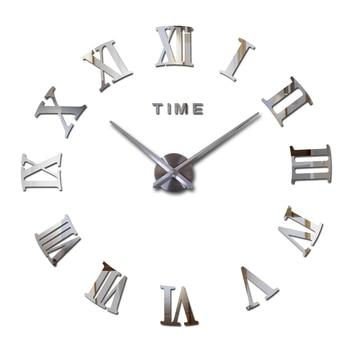 hot fashion quartz watch home decor limited sale 3d big mirror diy real wall clock modern