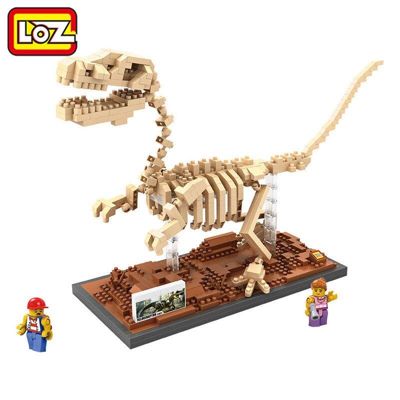 LOZ Single Sale Mini Dinosaur Tyrannosaurus Rex Triceratops Velociraptor Fossil 3D Building Blocks Toys for Children fossil sale fs4736 fossil sale