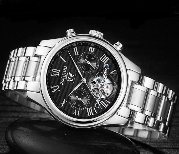40mm Sangdo Business watch Automatic Self-Wind movement Sapphire Crystal Mechanical multifunction Men's watch 032sa deluxe ailuo men auto self wind mechanical analog pointer 5atm waterproof rhinestone business watch sapphire crystal wristwatch