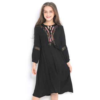 90ced8050 Niñas vestido de gasa de manga larga bordado vestido negro Nuevo Otoño  Invierno 10 12 14 años