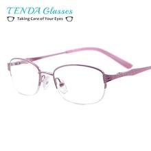 Women Eyeglasses Frame Half Rim Metal Oval Spectacles For Prescription Lenses of Myopia Reading Multifocal