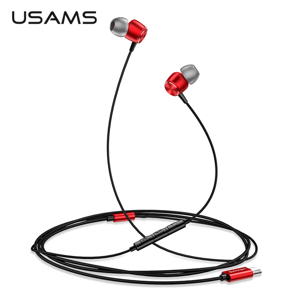 USAMS Usb Type C Earphones Wire Control Earbud Bass Usb-C Earphone With Microphone Type-C in ear Phone For Xiaomi Huawei Samsung