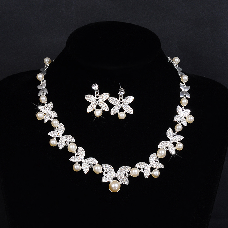 Woman S Wedding Jewelry Set Top Quality Pearl And Cz Necklace Earring Sets Bridal Accessories D034 In From