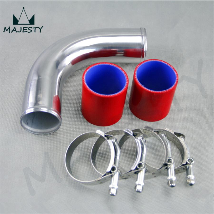 90 degree 50mm 2 Aluminum Turbo Intercooler tube Pipe +silicon hose +T clamps RED