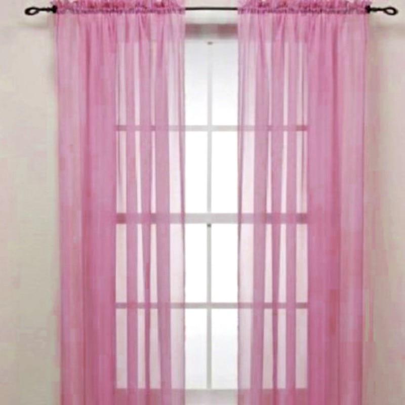 2Pc Leaf Pattern Voile Organdy Curtain Window Door Sheer Drape Decor Khaki
