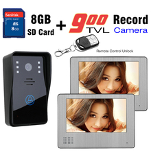 900TVL Camera Video Door Phone  2PCS 7inch LCD Touch Screen Video Intercom 8GB SD Card Recording Remote Control Unlock DoorBell