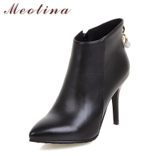 Meotina Women Boots Ankle Boots for Women Pointed Toe High Heels Rhinestone Autumn Boots Sexy Ladies Shoes Zip Large Size 44 45