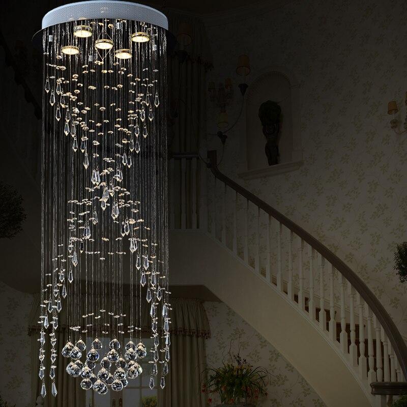 72 26 56 De Réduction Escalier En Spirale De Luxe Lustre En Cristal Led Circulaire Villa Salon Long Plafonnier Moderne Concis Cristal Suspension In