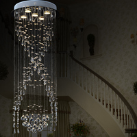 Luxury Spiral Stairs Crystal Chandelier Circular LED Villa Living Room Long Ceiling Lamp Modern Concise Crystal Hanging Light
