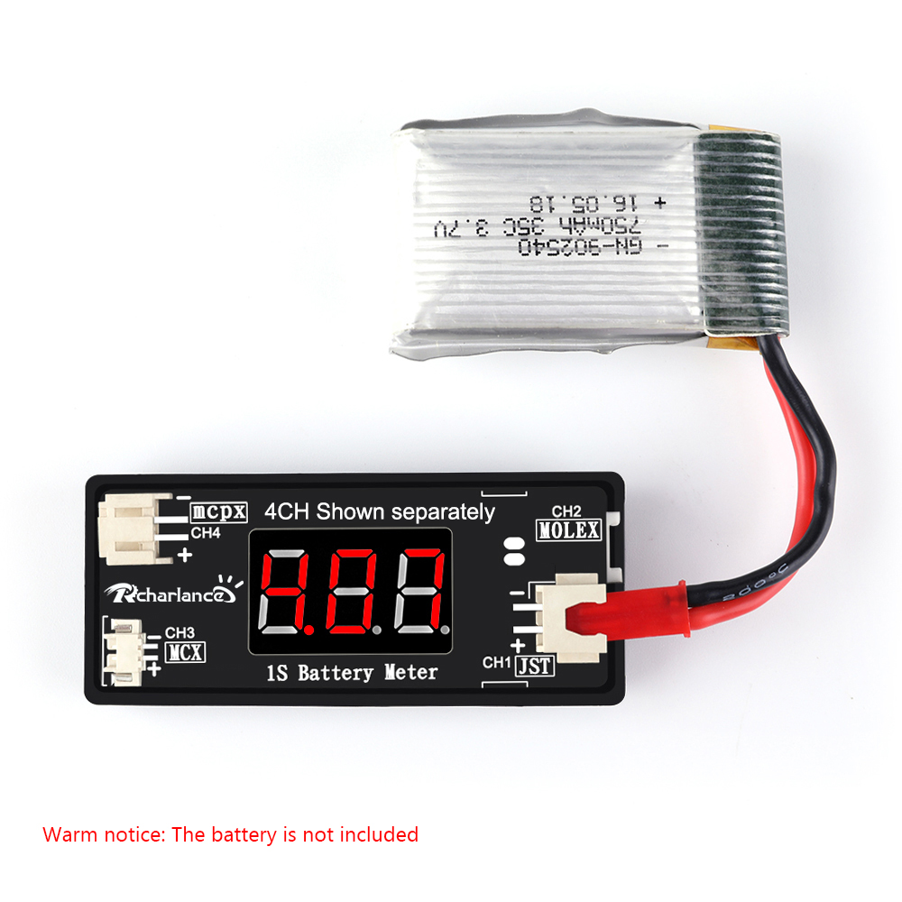 1S LiPo Battery Voltage Checker Tester with JST MCX PH 2.0 and Micro Losi Cable for Drone Quadcopter Battery Parts image