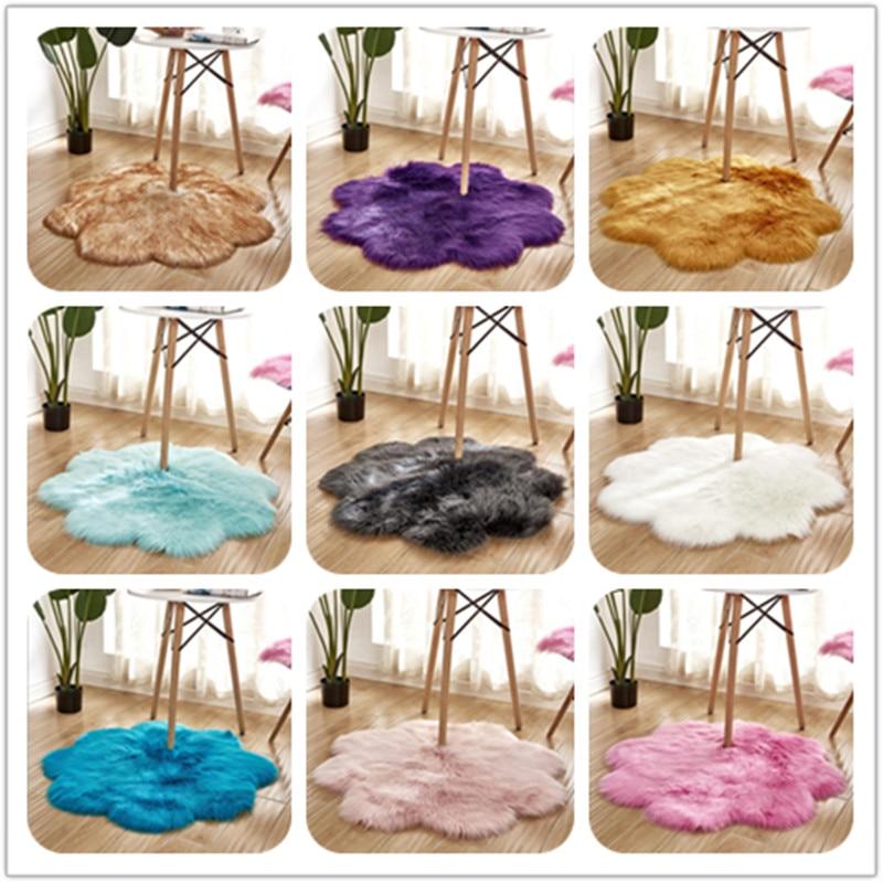 Couverture de chaise de chambre à coucher en forme de fleur tapis Long en peau de mouton artificiel tapis en laine artificielle tapis poilu chaud tapis de fourrure
