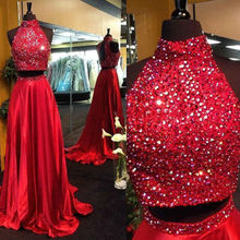 Long Red High Neck Satin 2 Pieces Prom Dresses 2017 Glitter Beaded Evening Gowns Vestidos De Baile