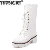 YOUGOLUN Winter Women Mid Calf Snow Boots Fashion Square Heels 5cm Boots Woman Lace Up Black