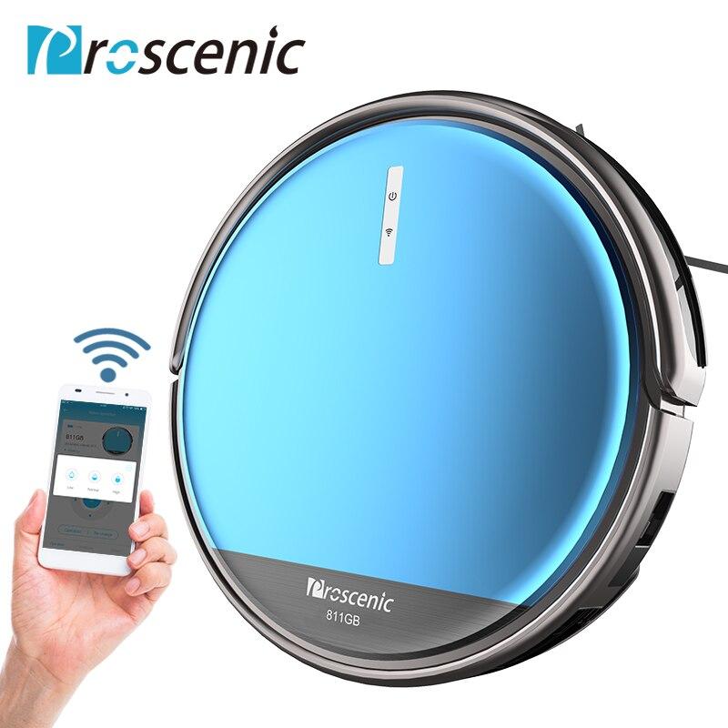 Proscenic 811 gb Wifi Robot Aspirateur De La Poussière Au Sol Auto De Nettoyage De Balayage Tapis Animaux Cheveux Aspirateur D'essuie-Glace Robot