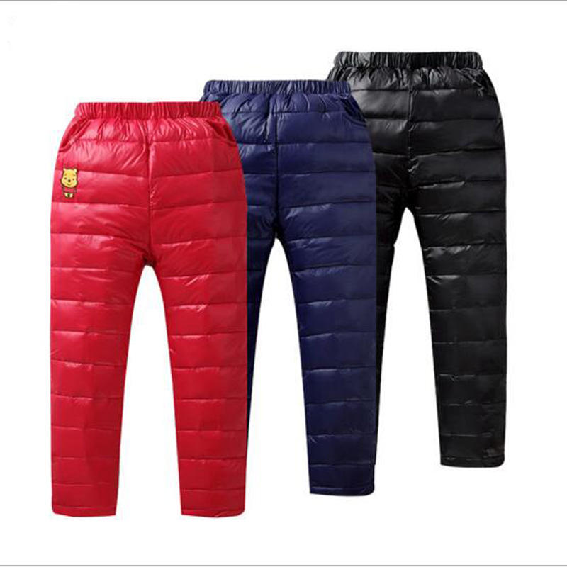 children white duck down pants kids boys girls long style thicken warm winter trousers 2016 new kids babys outwear for 5 to 11Y russia winter boys girls down jacket boy girl warm thick duck down