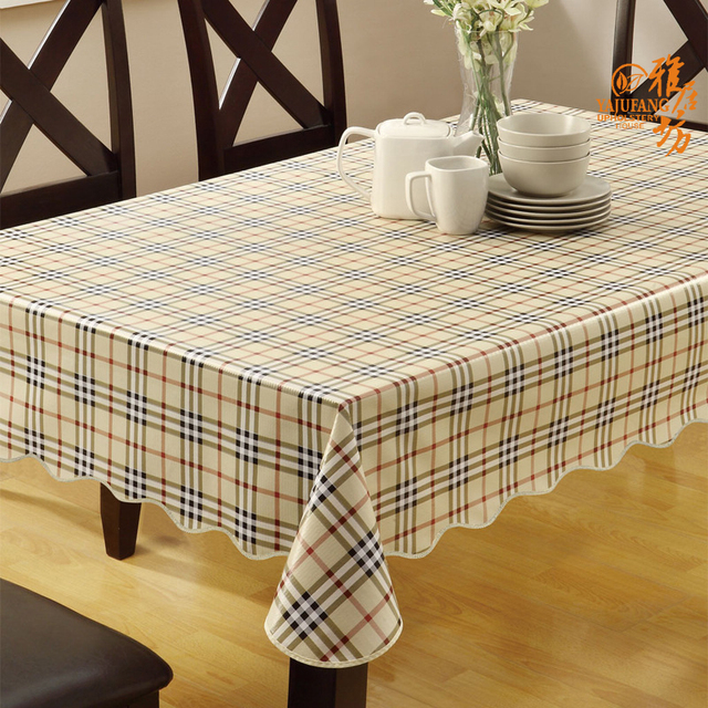 Pvc Disposable Table Cloth Circle Rectangle Rustic Plaid Tablecloth  Waterproof Oil