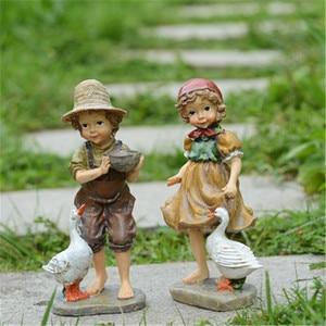 Image 1 - 22cm / 24cm High Garden Decoration Outdoor Art Resin American Girl and Boy Garden Figurines House Garden Yard Decor