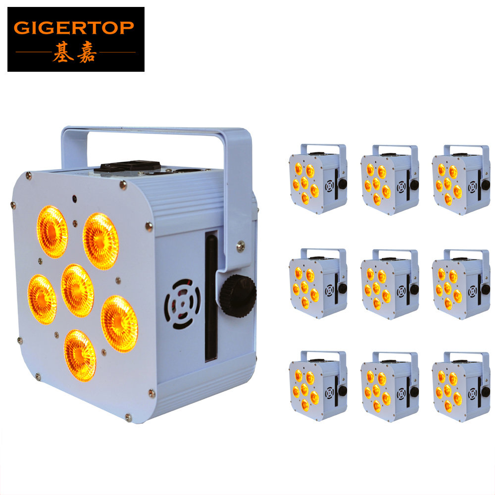 Wholesales Price 10 Unit 6x18W Wireless Battery Led Par Light Full Color Led Display 4 Digital Button White Housing 2.4G Antenna