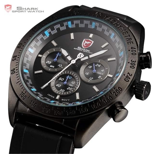 588a8ebb642 placeholder Swell SHARK Relógio Do Esporte Taquímetro Cronógrafo Bezel  Preto Azul Rodada Pulseira de Borracha Homens Relógios