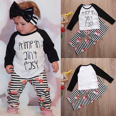 c1e1a24d8 2pcs suit !! Kids Baby Toddler Girls Clothes Set letter printed Tops ...