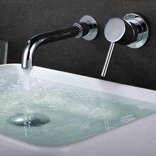 Brass mélangeur bassin robinet de bain baignoire évier mélangeur Chrome terminer place mitigeur de lavabo robinet dans le mur robinet de bassin de bain
