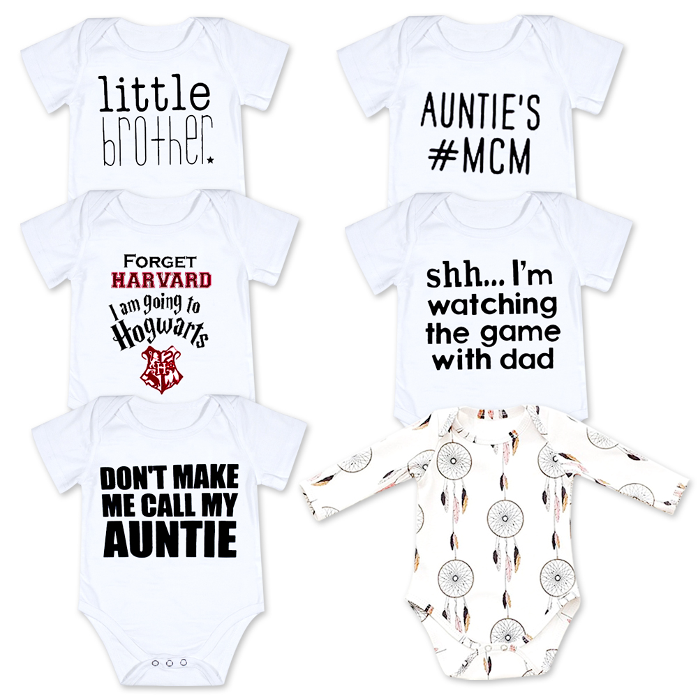 Baby Boy Girl clothes Funny Hello daddy little brother letter tiny cottons Baby bodysuit Short Sleeve Jumpsuit Baby Onesie 0-18 baby girl boy romper tiny cottons white gray long sleeve angel wings baby clothes newborn jumpsuit rompers baby onesie costume