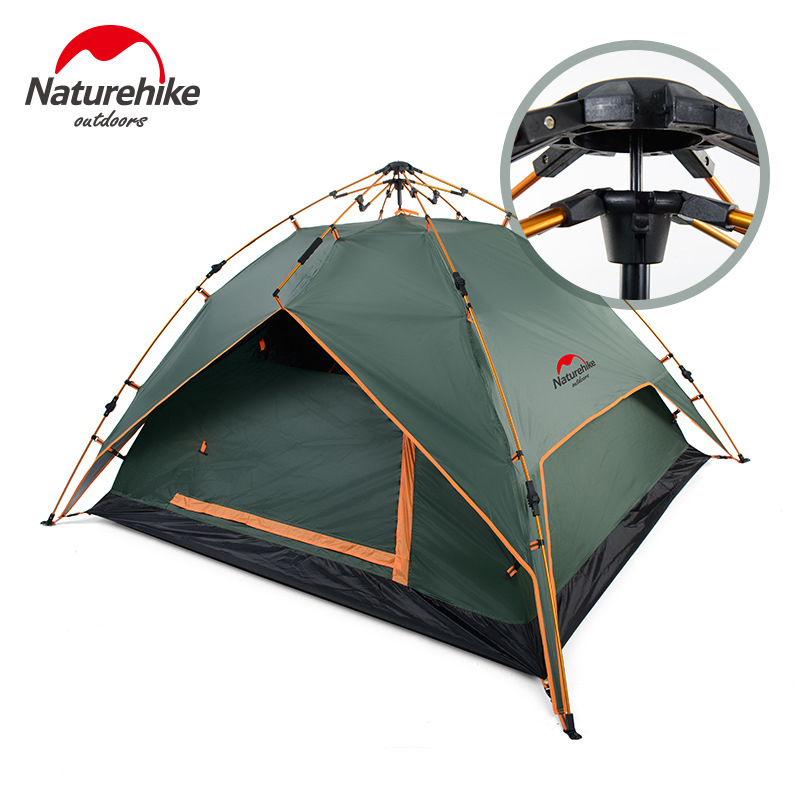 NatureHike Outdoor Tent Quick Automatic Opening Double Layer Camping Tent 3 People Three Season Tent Shelter for Hiking Hunting high quality outdoor 2 person camping tent double layer aluminum rod ultralight tent with snow skirt oneroad windsnow 2 plus