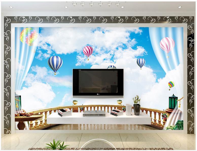 Kustom 3d wallpaper mural lanskap mediterania wallpaper balkon biru langit putih sky hot air balloon latar belakang dekorasi dinding di wallpaper dari
