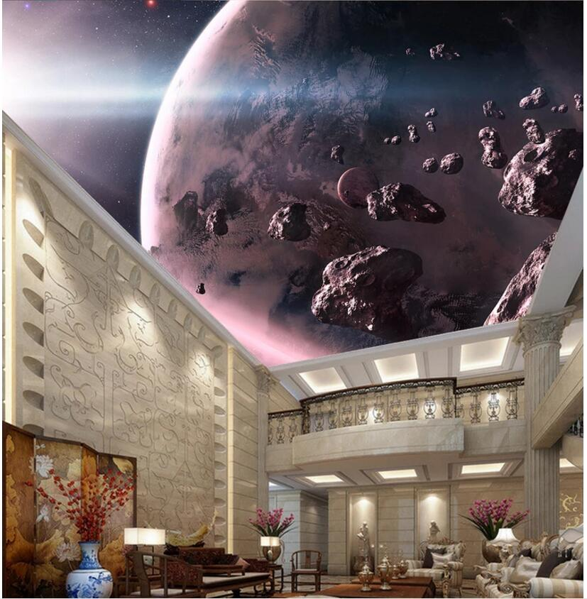 Custom photo 3d ceiling murals wallpaper 3d on the wall Meteorite space planet home decor living room 3d wall muarls wallpaper custom soft fleece throw blanket apartment decor outer space nebula galaxy stars mars jupiter with a tree on a planet print