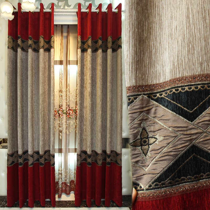 Custom Curtains Classical Modern Chinese Curtains Shading Screen Red Thick Chenille Cloth Blackout Curtain Valance Tulle E968