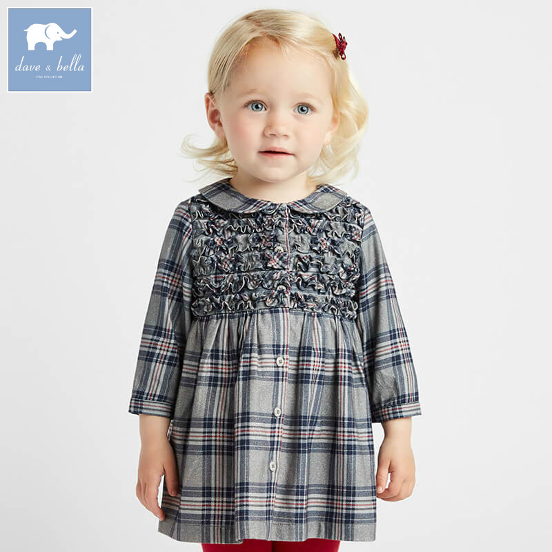 DB8684 dave bella autumn infant baby girl's fashion plaid dress kids birthday party dress toddler children clothes db7266 dave bella baby dress girls infant toddler clothing children birthday party clothes kids summer lolita dress