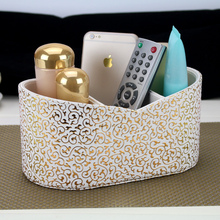 Luxury fashion desktop storage box remote control cosmetics PU leather sundries gold