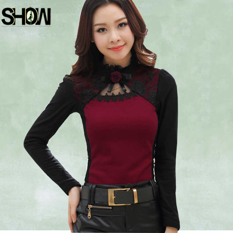 3c353462a6a5 Basic Shirts Blouses Sheer Hot Women Fashion Autumn Winter Slim Fit Bodysuit  Parchwork Black Mesh Red