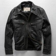 new Avirex fly real leather jacket  David backham style turn down collar skin wind jacket men's leather coat motorcycle jackets