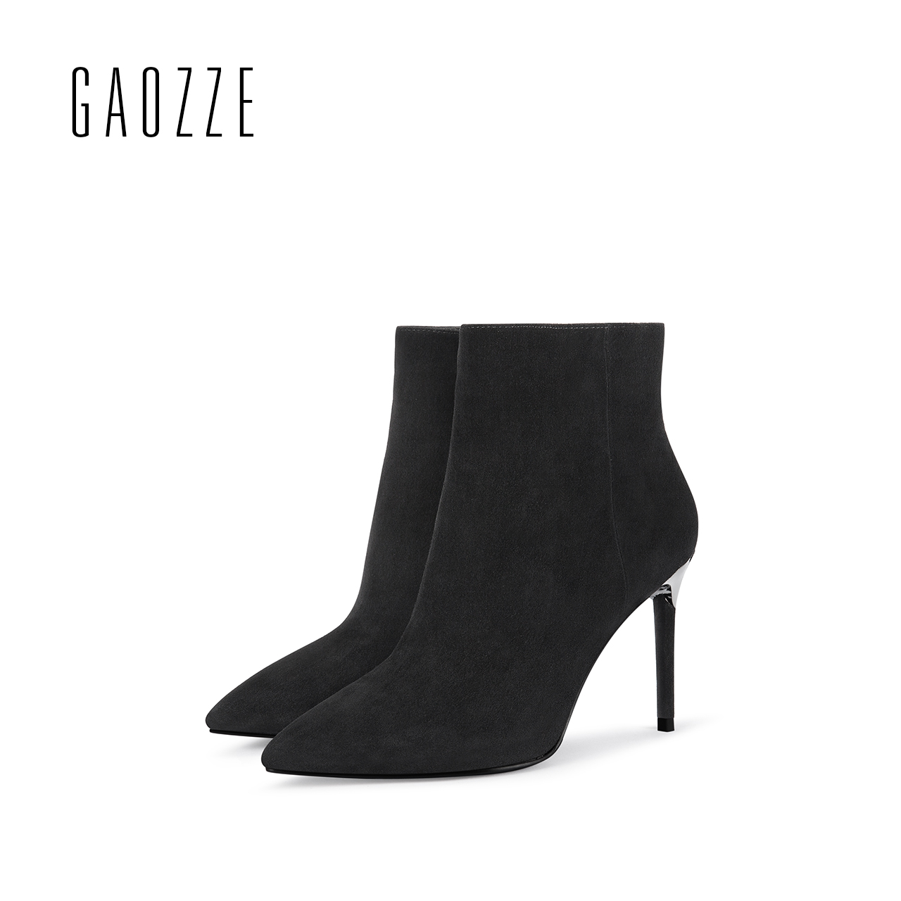 GAOZZE black sheep suede leather women ankle boots high heel pointed toe shoes female side zipper ankle boots 2017 autumn new стоимость
