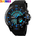 2017 New SKMEI  Brand Men Military Sports fashion Swimming Watches dual time Digital LED quartz Wristwatches black rubber band